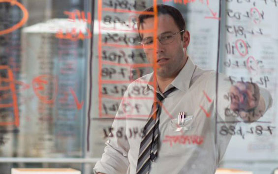 Ben-Affleck as the-Accountant, writing numbers on a glass window