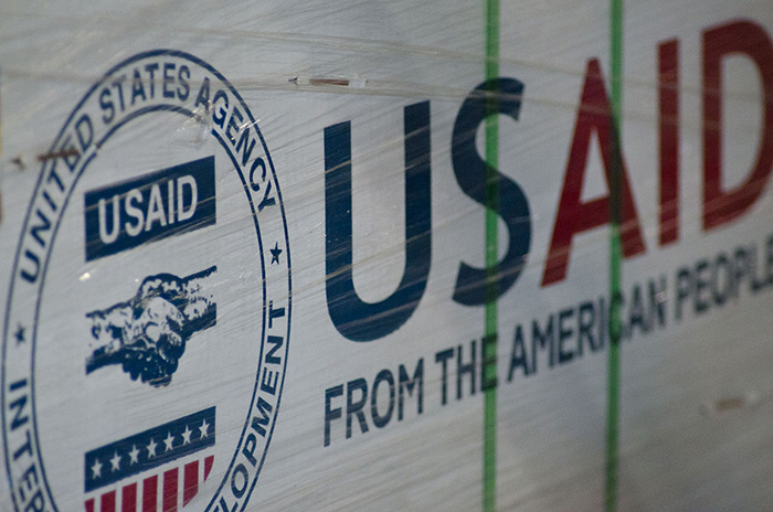"USAID Package with government seal & text that reads ""From the American People"""