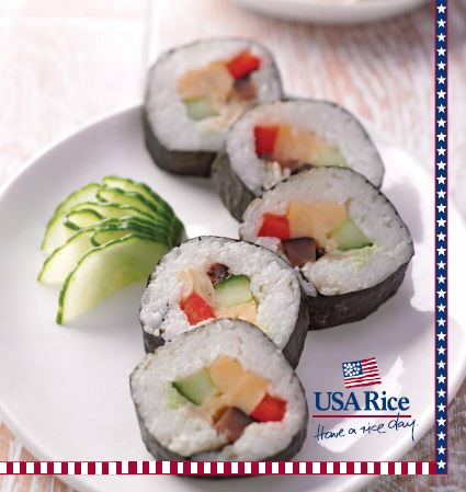 "Sushi on white plate with USA Rice logo ""Have a Rice Day!"""