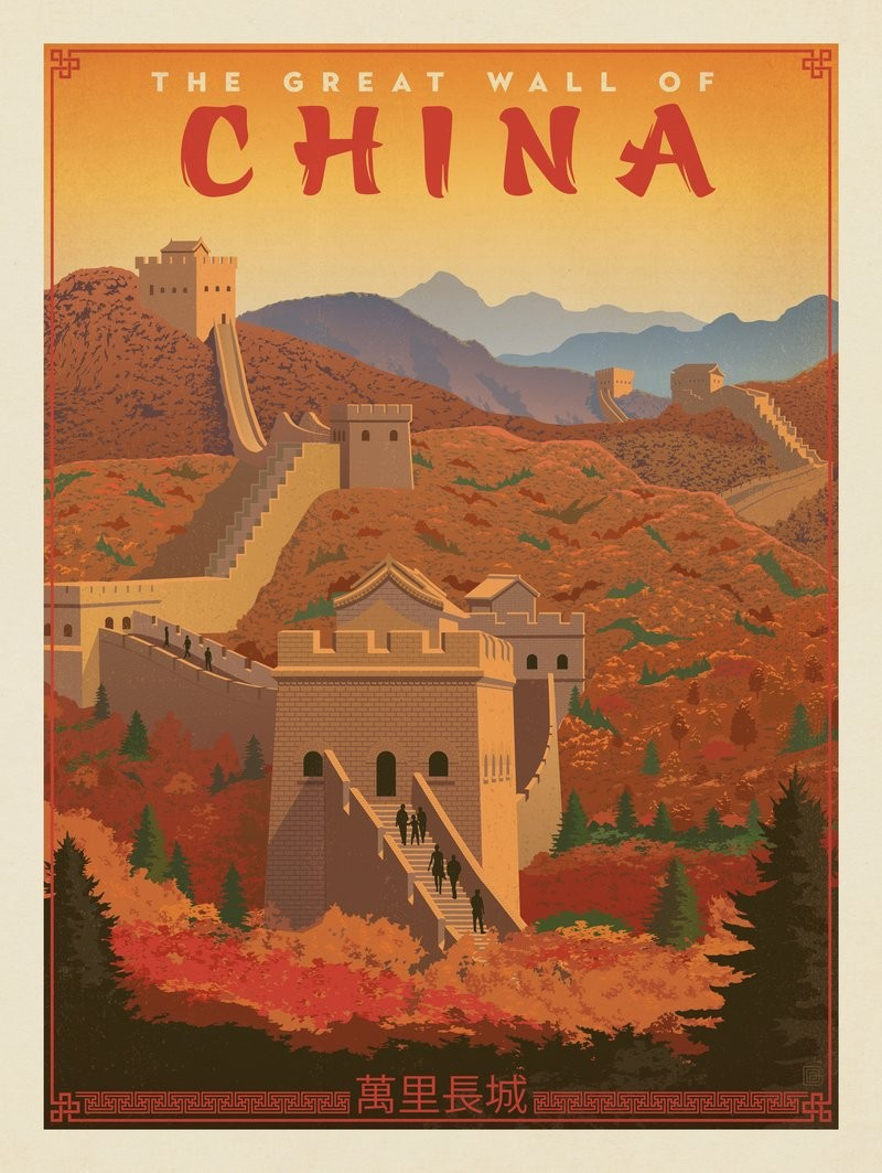 Great Wall of China travel poster