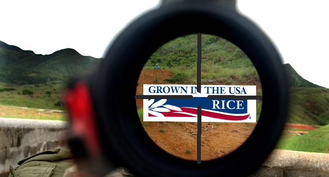 US Rice logo in a gunsight with mountains in the background