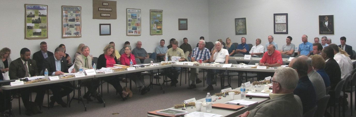 LA Rice Industry Educates State Lawmakers on Importance of Rice Industry, meeting attendees sitting around u-shaped table