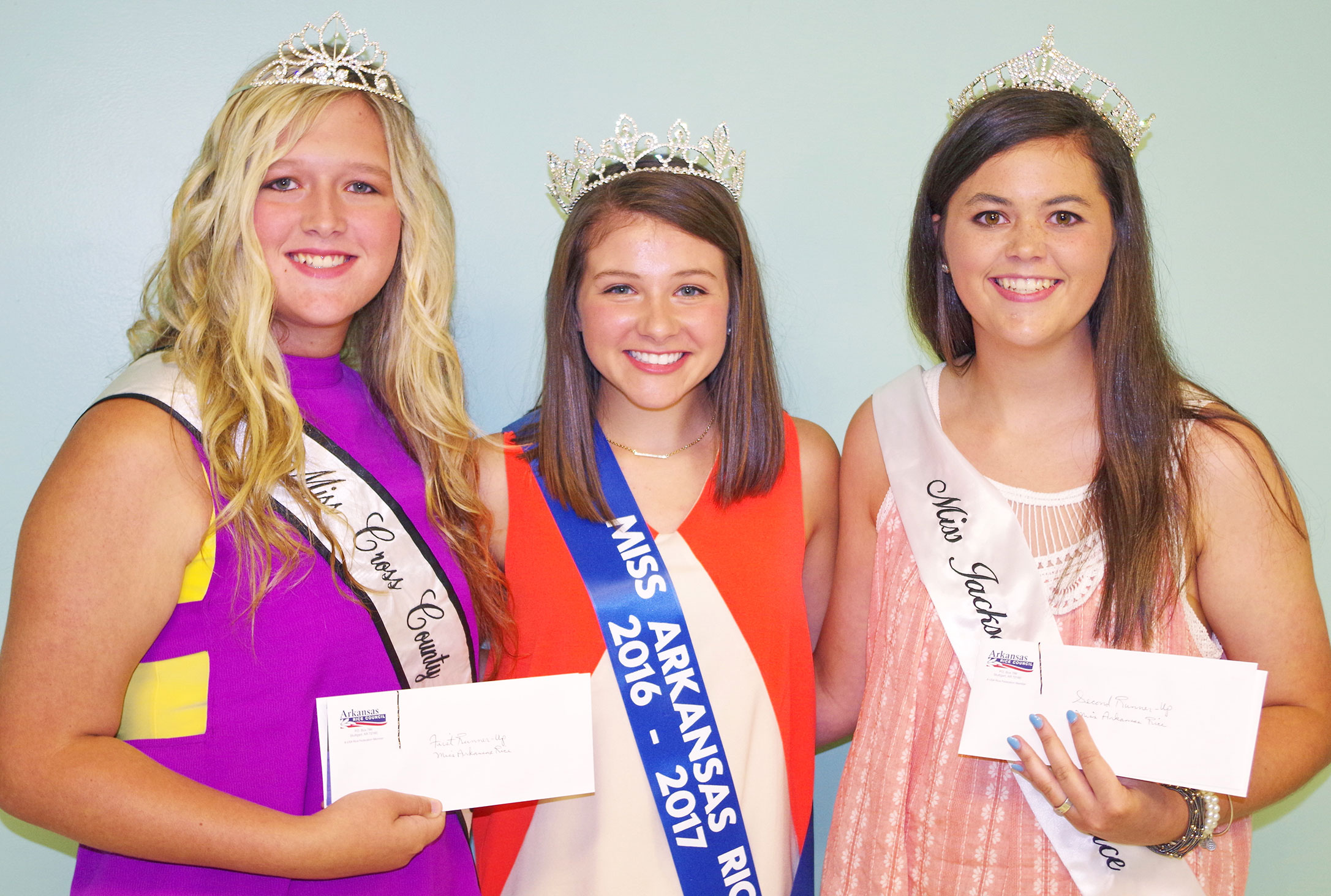 2016-17-Miss-AR-Rice-Top-3-Winners, 3 young ladies wearing sashes & tiaras