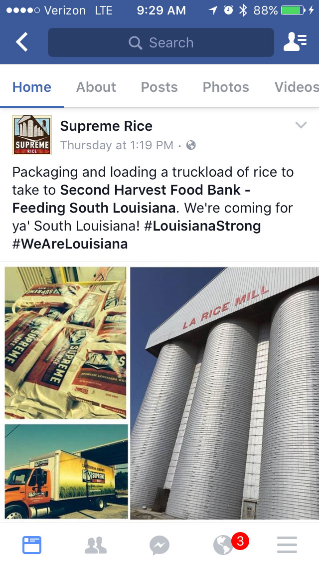 Supreme Rice tweet about LA-Food-Bank-Donation after 2016 flooding
